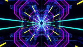 3D Colorful Neon Tunnel Loopable Motion Background stock video