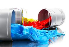3d Colorful paint splashing out of cans. 3d illustration. Colorful paint splashing out of cans. Isolated white background Royalty Free Stock Images