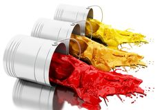 3d Colorful paint splashing out of cans. 3d illustration. Colorful paint splashing out of cans.  white background Stock Photography