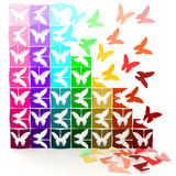 3D colorful paper butterflies turn to life Stock Images