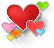3D colorful paper hearts on white background (vect Royalty Free Stock Photo