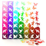 3D colorful paper lizards turn to life, in jigsaw style. Stock Photography