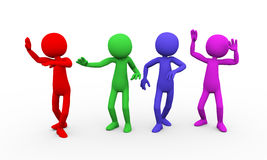 3d colorful people fun dancing Royalty Free Stock Photography
