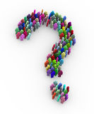 3d colorful people question mark sign symbol. 3d illustration of question mark sign symbol created with colorful people man symbols Royalty Free Stock Photography