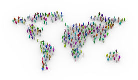 3d colorful people standing on world map Royalty Free Stock Image