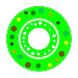2D colorful plate with small dots. Isolated gaming disc or wheel in colored view on white background. Car component Stock Photos