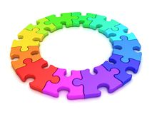3D colorful puzzle chart wheel. Top view. 3d colorful puzzle chart wheel,  on white background. Top view Stock Photography