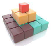3d colorful pyramid of cubes Stock Photos