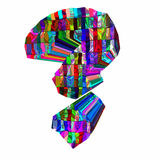 3D colorful question mark isolated stock photography