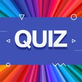3d colorful quiz text on colourful rainbow rays background. Vector. Illustration Stock Photography