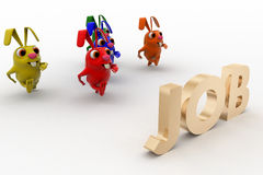3d colorful rabbit running for job concept Stock Images