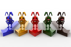 3d colorful rabbit s on colorful arrows concept Stock Photos