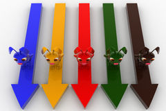 3d colorful rabbit s on colorful arrows concept Royalty Free Stock Photo