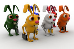 3d colorful rabbits in line going for job concept Stock Images