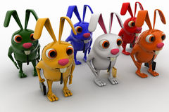 3d colorful rabbits in line going for job concept Royalty Free Stock Image