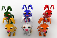 3d colorful rabbits in line going for job concept Stock Photos