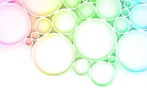 3d colorful rings over white backdrop. Abstract digital background pattern with colorful rings over white backdrop, bright gradient tonal filter, 3d illustration Stock Photo