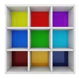 3d colorful shelf Stock Photos