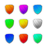 3D colorful shields. With light reflections Royalty Free Stock Photo