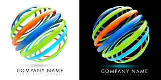 3D Colorful Spheres. 3D Colordul Spheres illustration made out of rings on black and white background Royalty Free Stock Photos
