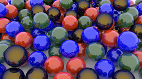 3D colorful spheres. 3D varied colorful spheres background Stock Images