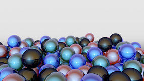 3D colorful spheres. 3D varied colorful spheres background Stock Image