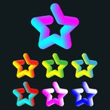 3d colorful star set. 3d colorful star template set. Vector illustration Stock Images