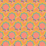 3D colorful stars in seamless pattern. 3D decorated colorful octagonal stars in a repeating pattern. Arabesque, ethnic geometric colorful design for backgrounds Royalty Free Stock Photography