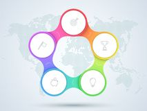 Infographic 5 Point Business Diagram With World Map. 3d, colorful 5 step linked circles that form a business cycle infographic with blank, white space for text Stock Illustration