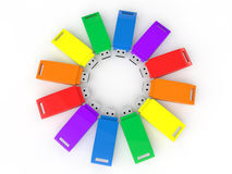 3d colorful USB flash drives Royalty Free Stock Image