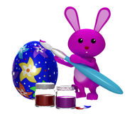 3d Colorfull Easter  bunny painting egg Royalty Free Stock Images