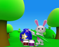 3d Colorfull Easter  bunny painting egg Royalty Free Stock Image