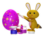 3d Colorfull Easter  bunny painting egg. Colorful Easter  bunny painting egg Stock Photo