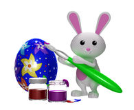 3d Colorfull Easter bunny painting egg. Colorful Easter bunny painting egg Royalty Free Stock Photos