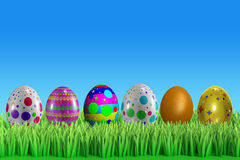 3d Colorfull easter egg with background Royalty Free Stock Photo