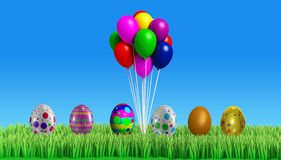 3d Colorfull easter egg with background Royalty Free Stock Images
