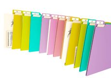 3d colorfull folders, on white background royalty free stock photography