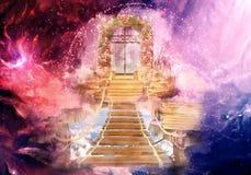 3d colorido artístico que rende ilustração gerada por computador da arte finala da porta de um céu mais alto da dimensão ilustração stock