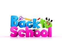 3d colorido de nuevo al texto de escuela stock de ilustración