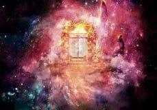 3d colorido original que rende ilustração gerada por computador da arte finala da porta de um céu mais alto da dimensão ilustração stock