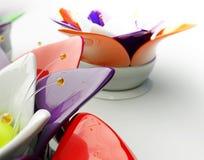 3d A colorized abstracte glasbloem op een wihteachtergrond Stock Afbeeldingen