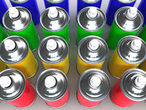 3d Coloured spray paint cans Royalty Free Stock Images
