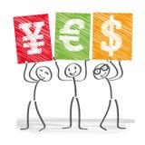 3d coloured waluty wysokiego ilustracyjnego wizerunku wielo- postanowienia symbole Obraz Stock
