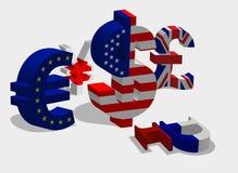 3d coloured waluty wysokiego ilustracyjnego wizerunku wielo- postanowienia symbole Zdjęcie Stock