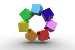 3d colourful cubes in a circle. On white background Royalty Free Stock Photos