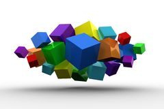 3d colourful cubes floating in a cluster Stock Image