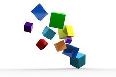 3d colourful cubes floating. On white background Royalty Free Stock Images