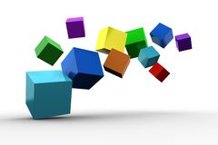 3d colourful cubes floating. On white background Stock Photos