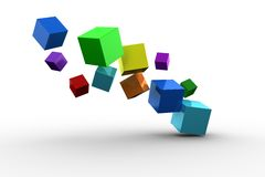 3d colourful cubes floating. On white background Royalty Free Stock Image