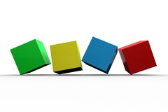 3d colourful cubes in a row. On white background Stock Photo